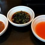 しゃぶ葉 - 玉ねぎの香味だれ、ポン酢にネギ、トムヤムクン風