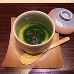 84586020 - 百合根の茶碗蒸し 春菊の餡掛け