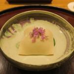 日本料理 太月 - 30年4月 静岡筍、鹿児島車海老、胡麻豆腐 木の芽味噌和え