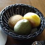 Terrace Restaurant COMFORT HOUSE - ◆パン3種(かぼちゃ・抹茶・黒糖だったような)