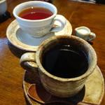 珈琲屋gufo - キリマンジャロ(420円)とホットミルクティー(400円)