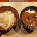 肉 阿久 - 稲庭うどん、和牛カレーライス(どちらか選択)