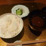 野菜割烹 あき吉 - 食事:新生姜ご飯、香の物、赤出汁
