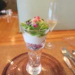 ビストロアム - 野菜のパフェ グリンピースのアイスクリーム