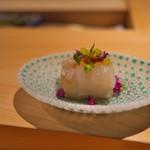 寿しの吉乃 - ほしがれいを茄子の煮びたしに巻いて。