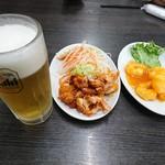 台湾料理 昇龍 - 料理写真:2018年3月 お得なビールセット(油淋鶏+エビチリ) 980円+税