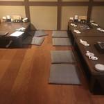 月の蔵人 - 団体用の大テーブルしかなく、カップルで行っても相席かカウンター。