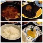 花源 - ◆アラメの煮物、ご飯、お味噌汁、香の物など。