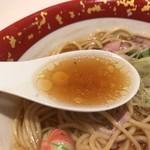 84709019 - 醤油ラーメンのスープ