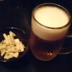 備長炭・もつ焼 あんじ - 生ビール(中)
