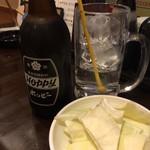 徳永肉酒場 - ホッピーとお通しのきゃべつ