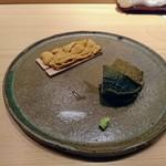 84716077 - 唐津の赤ウニ、蒸し鮑