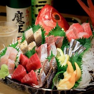 美しい【お刺身盛り合わせ】や【季節の魚料理】!!