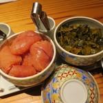 やまや - 卓上の明太子&辛子高菜。