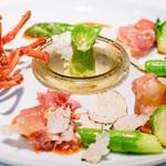 キメラ - オマール海老と海老味噌、クラテッロと芽キャベツ