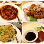 七福 - 左上:マーボー豆腐 左下:エビチャーハン 右上:ハチノスの四川風炒め 右下:北京ダック