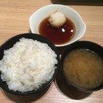 博多天ぷら たかお - 定食のご飯と味噌汁