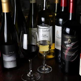 厳選したワインは30~60種類!コスパの良い銘柄を取り揃え○