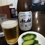 新潟長岡らぁめん 安ざわ食堂 - アサヒ中瓶(おつまみ付)2018.4.22