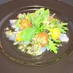 ネオビストロアンドバー トリノ - 前菜、ホウセキハタのカルパッチョ