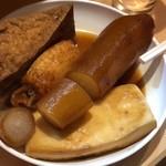 博多のおでん - ◆厚揚げ(200円)・大根(200円)・餃子(150円)・はんぺんなど。 大根が大きくてビックリ。