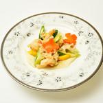 大海老と季節野菜のあっさり生姜炒め