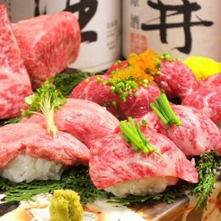 今話題の馬、牛の肉の寿司180円~牛串も♪