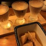恵比寿 マルヒ - 黒龍3種飲み比べとお通しのタケノコ