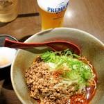 山椒家 - 生ビール・白担々麺セット、温玉追加  1,200円