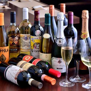 ワインセラー完備!世界各国の多彩なワイン