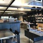 社食堂 - お店入り口付近、奥が設計事務所のオフィスです。