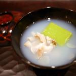 豪龍久保 - お碗 地蛤(桑名) 紀州うすいまめ豆腐 花びら新生姜