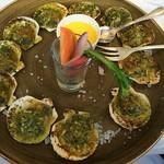 ラ・ブランシュ - 活帆立貝ブルギニョン風根野菜とスープ