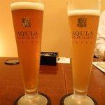 比内や 秋田店 - 川反ラガー男前ビール(左) 美人ビール(右)