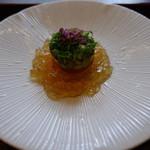 京料理屋 嵐山さくら - 蒸し鮑、丹波の葱、肝