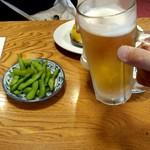 蒲田温泉 - まずは普通のスーパードライと生レモンサワーで乾杯!