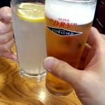 蒲田温泉 - 今度はレモンサワーと氷点下のスーパードライで乾杯!