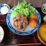 84849070 - 鶏からあげ昭和コロッケ定食(18-04)
