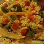 ワルン ジャムカレット - 蟹カレー♪ライス、パクチーを混ぜてチリソースをかけて♪