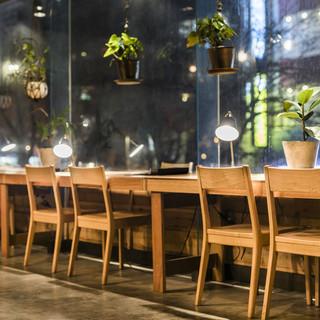 木と植物のやわらかい雰囲気の店内