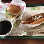 モスバーガー - モーニング野菜チーズバーガー &チリドッグ