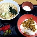 名代 富士そば - 朝食高菜飯セット:320円