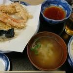 いもや - 天ぷら定食(800円)とスーパードライ(450円)