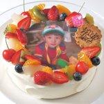 ハピネス - 料理写真:お子様のお誕生日や七五三、成人式のお祝いや結婚式等にインパクトがあって喜ばれる写真プリントのケーキはいかがですか?別途デザイン料+500円より