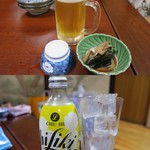 大衆割烹 三州屋 - 生ビール(中)¥620/お通し/レモンサワー(ハイリキ)¥530