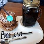 アトリエドガトー - 料理写真:パリブレスト(398円)+アイスコーヒー(100円)