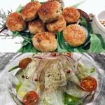 カルボイタリアーナ - チキンのポルペッティ&潮鯛のカルパッチョ