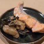 うを徳 - 2018.4 大目マス炭火焼き 筍と木耳と菊芋の花山椒炊き