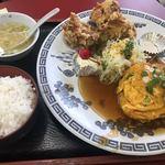 まんぷく亭 - A定食       唐揚とカニ玉