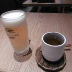 韓美膳 - 生ビール、なつめ茶